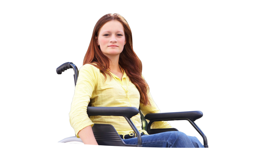 change to disabled woman sitting in a wheelchair
