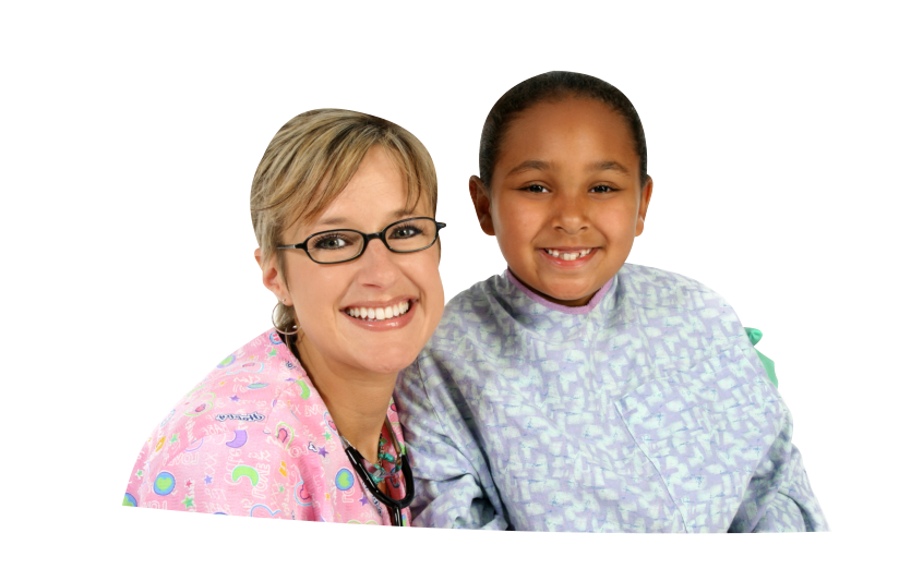 caregiver and her young girl patient
